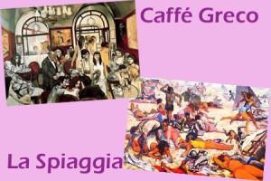 La Spiaggia e Caffé Greco di Renato Guttuso
